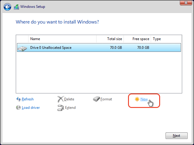 Select Unallocated Disk And Click On New To Create A New Partition For Windows