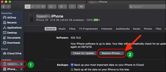 Select Your Iphone From Sidebar And Then Click On Restore Iphone Or Ipad