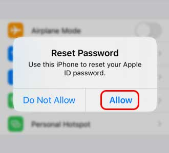 Tap On Allow On Notification To Reset Your Apple Id Password