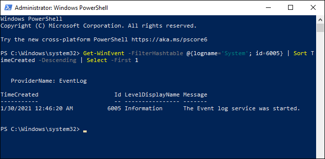 Check System Uptime In Windows 10 Using Powershell