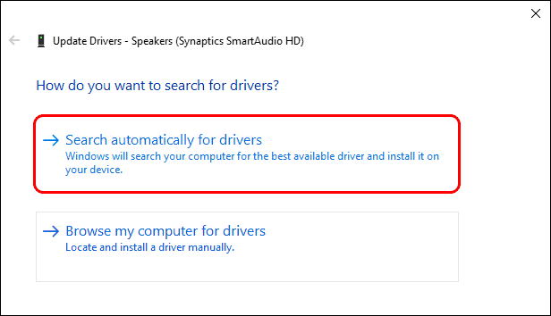 Click On Search Automatically For The Drivers to fix headphones not working on windows 10
