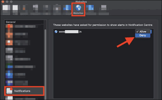 Deny Notification Access From Selected Websites