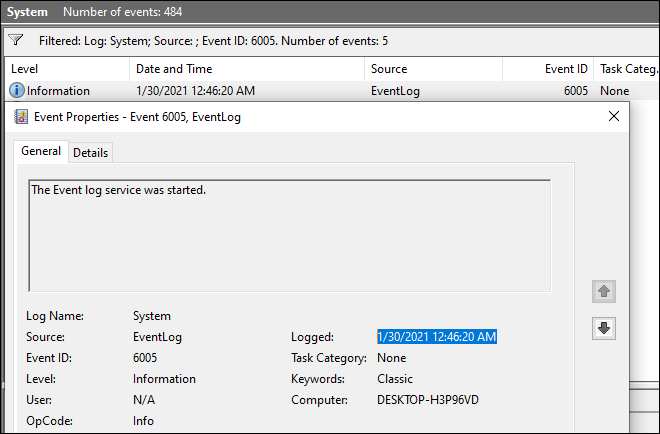 Open First Event From The List And Check Logged Time For Checking System Up Time In Windows 10