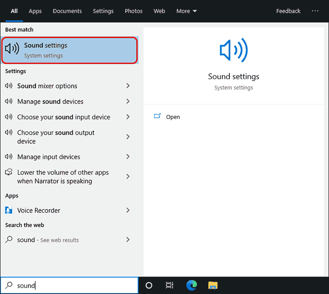 Search For Sound And Open Sound Settings