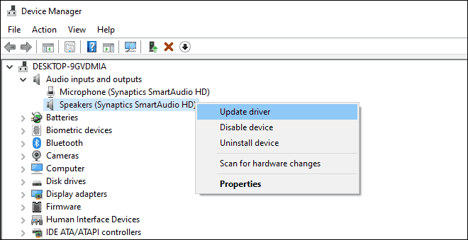 Update Sound Drivers From Device Manager to fix headphones not working on windows 10 issue