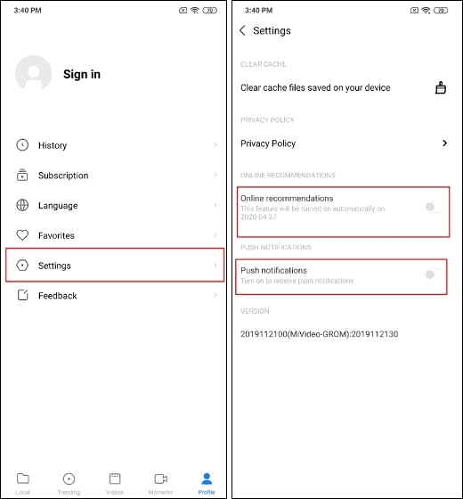 Disable Ads In Mi Video App