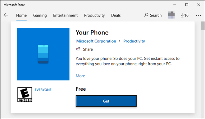 Install Your Phone App From Microsoft Store