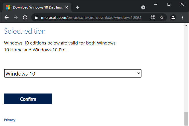 Scroll Down And Select Edition Of Windows 10 And Click On Confirm Button