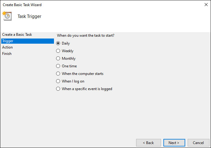 Select Daily To Trigger The Task Daily To Schedule Automatic Shutdown