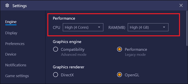 Select Engine Tab From Left And Scroll To Performance Section