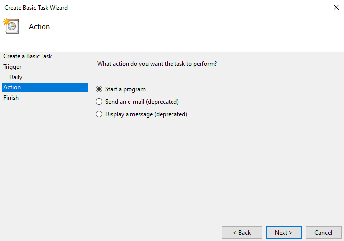 Select Start A Program On Action Tab And Click Next