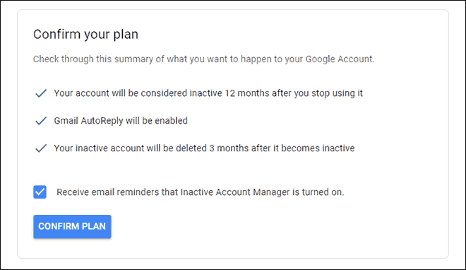 Click Confirm Plan to save your Settings