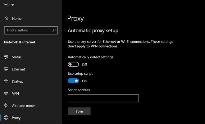 Disable Automatically Detect Settings And Enable Use Setup Script To Configure Proxy In Windows 10