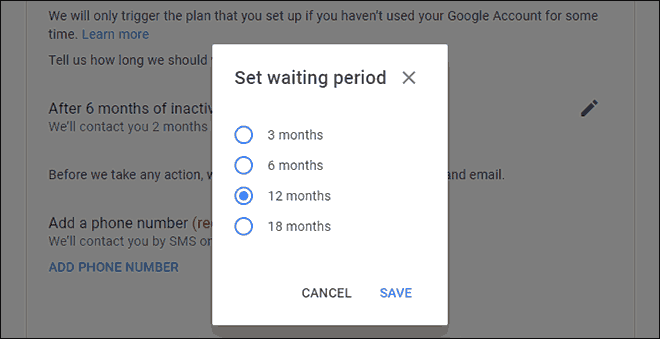 Set waiting period for your Google Account