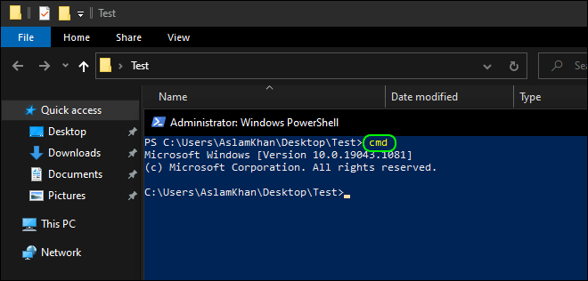Type Cmd Command In Powershell To Start Command Prompt In Current Location