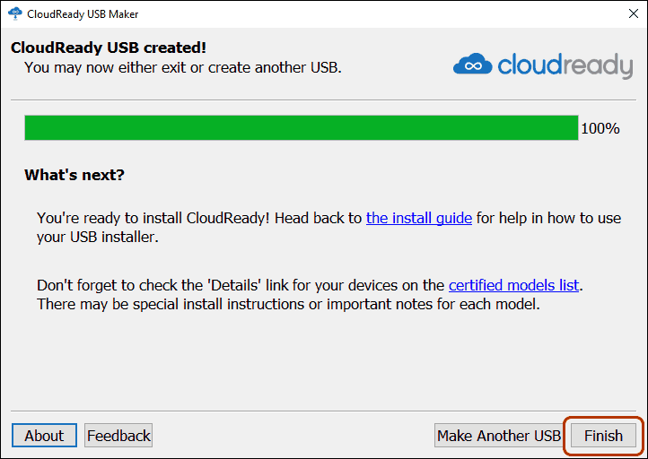 Click Finish To Exit Cloudready Usb Installer Wizard