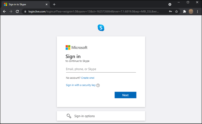 Open Skype Web Portal And Sign In Using Your Microsoft Account
