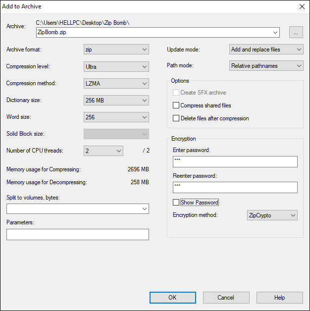 Provide Name For Your Zip Bomb And Set The Compression Level And Click Ok