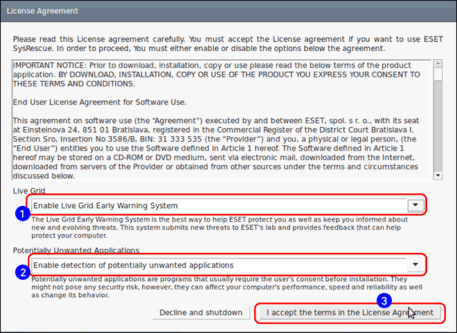 Configure Eset Rescue Settings And Accept License Terms