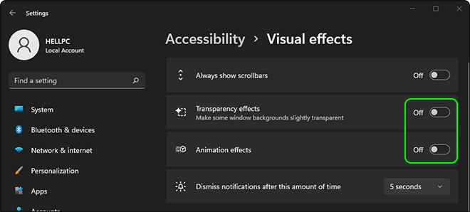 Turn Off Transparency And Animation Effects To Speed Up Windows 11