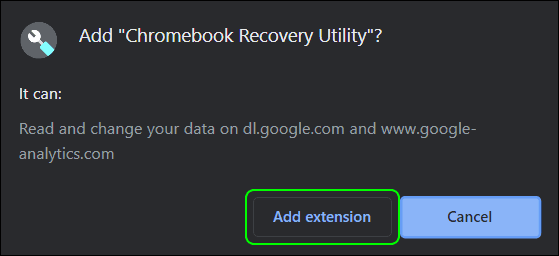 Click Add To Add Recovery Utility Extension To Chrome