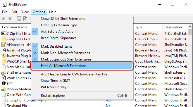 Click Options And Select Hide All Microsoft Extensions