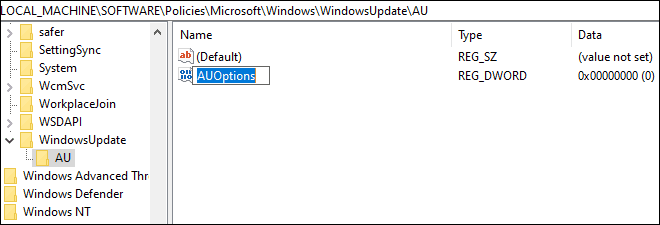 Create A New Dword Named As Au Options To Change Windows Updates Settings