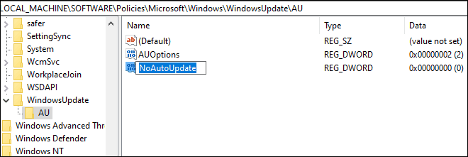 Create A New Dword Named As No Auto Updates To Disable Automatic Windows Updates In Windows 10
