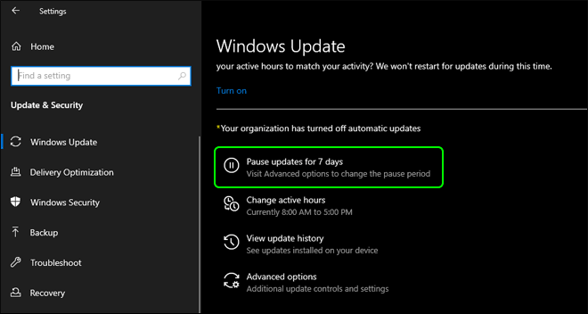 Pause Automatic Windows Updates For 7 Days