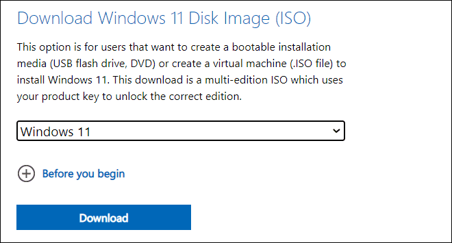 Download Windows11 ISO from Official website