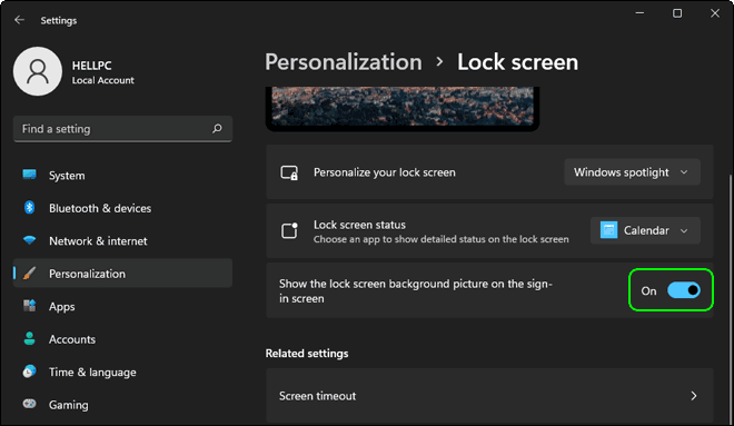 Enable Show Lock Screen Background Picture in Windows 11