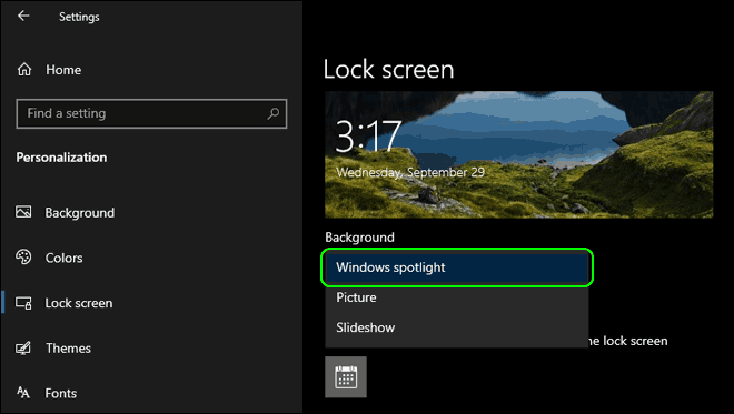 Enable Windows Spotlight In The Background To See Same Picture On Sign In Screen In Windows 10