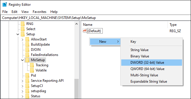 Go To Mosetup Key And Create A New Dword to bypass tpm and cpu requirements for windows 11 upgrade