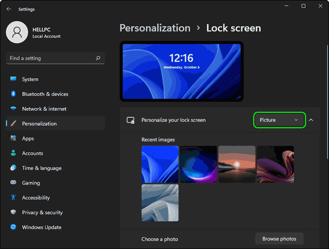 Select Lock Screen type as Picture in Windows 11
