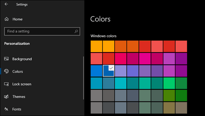 Select Your Desired Accent Color In Windows 10